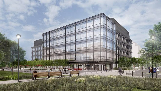 A rendering shows the Innovation District that will rise on Ohio State University's West Campus.