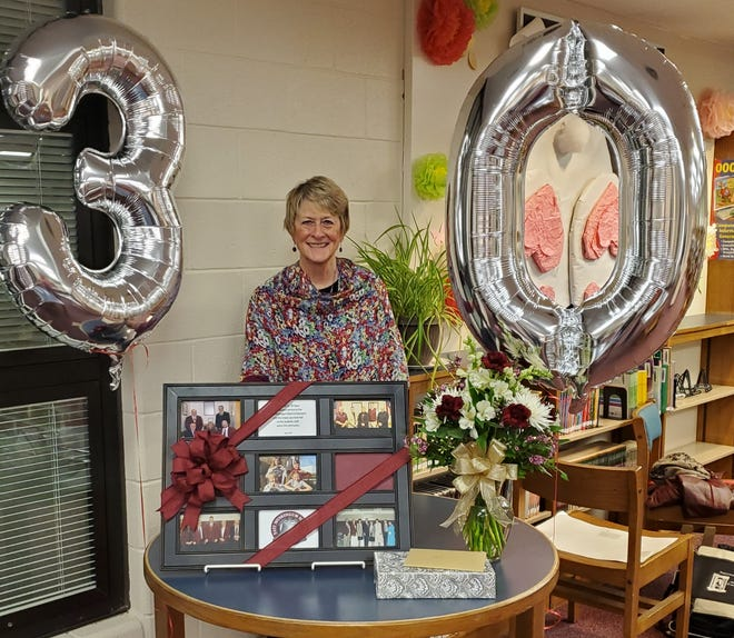 Gail Requardt was recently recognized by the East Muskingum Board of Education for her 30 years of service.