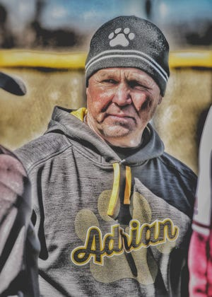 Adrian College head baseball coach Craig Rainey prepares for a game in the 2018 season.