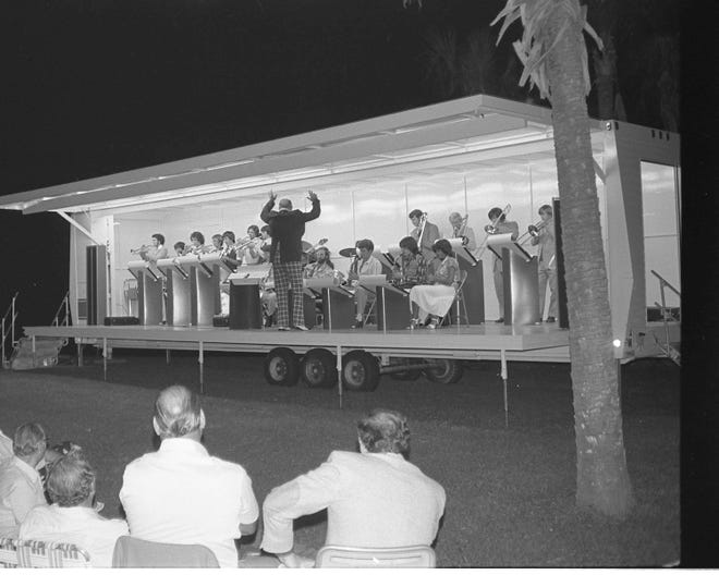 Fred Deen conducts a band at a 1980 concert in Veterans Park, Flagler Beach.