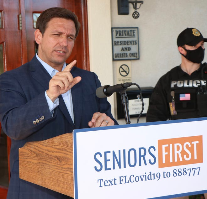 Florida Gov. Ron DeSantis speaks at the Crane Lakes Golf and Country Club in Port Orange on Friday, March 12, 2021.