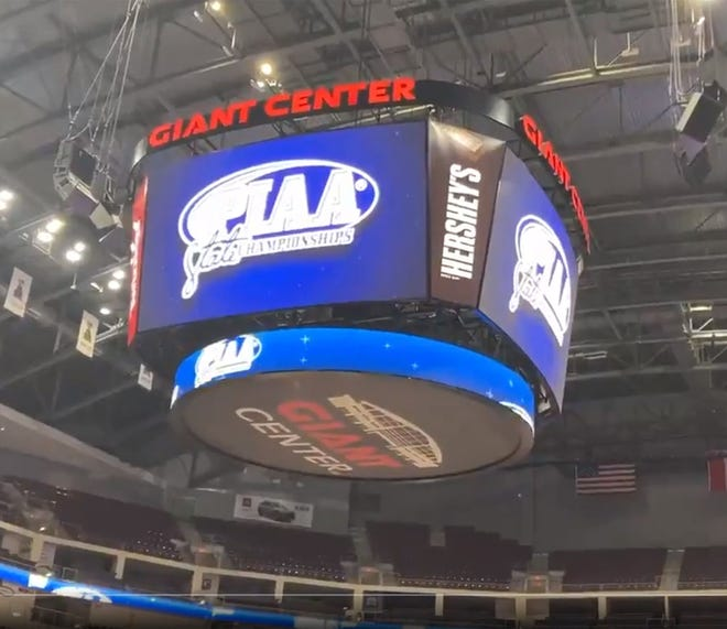 The Giant Center is set for the PIAA Class 3A wrestling tournament on Saturday, March 13, 2021.