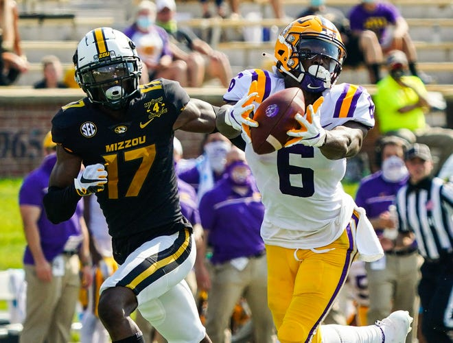 Missouri defensive back J.C. Carlies (17) defends LSU receiver Terrace Marshall Jr. in their game last fall. Carlies has been switched to safety from cornerback in spring practice by new defensive coordinator Steve Wilks.