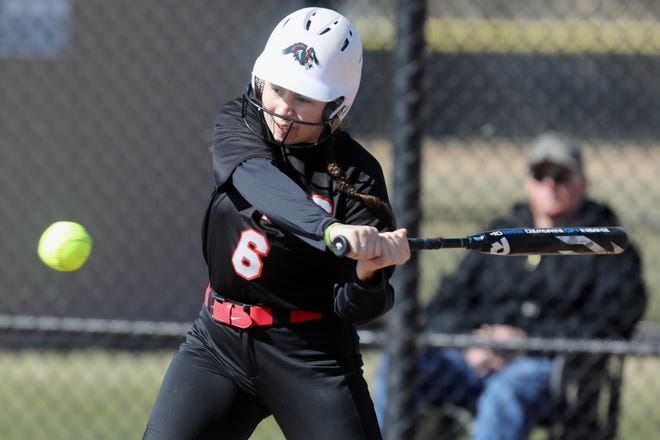 Southeastern Community College's Lydia Allen-Barnes (6) at bat during the first game of a double header against Iowa Central Community College, Thursday March 11, 2021 at SCC's Wagner Athletic Complex.