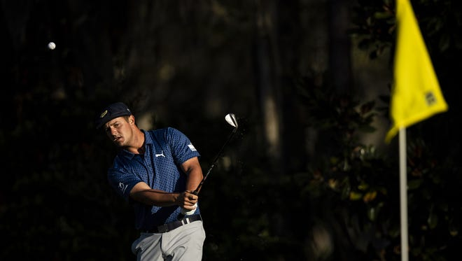 Bryson DeChambeau plays his shot from the 10th Green during the second round of THE PLAYERS Championship on THE PLAYERS Stadium Course at TPC Sawgrass on March 12, 2021 in Ponte Vedra Beach, Florida. (James Gilbert / Florida Times-Union)