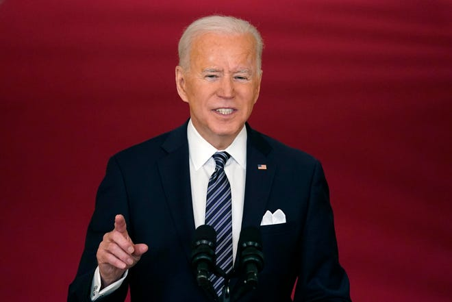 President Joe Biden speaks about the COVID-19 pandemic during a prime-time address from the East Room of the White House, Thursday.