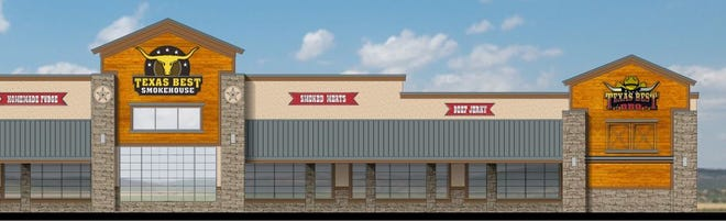 An early artist rendering shows plans for a new travel center, which will break ground along the intersection of State Highway 91 and U.S. Highway 75 in Denison next week.