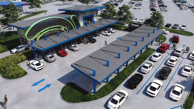 An artist rendering shows plans for a proposed carwash along the intersection of U.S. Highways 75 and 82.