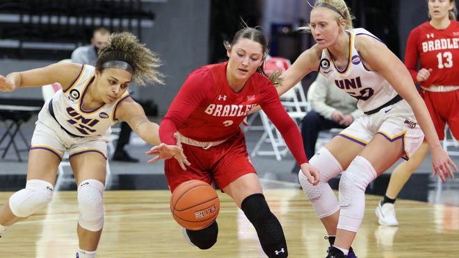 Bradley's Gabi Haack scrambles for a loose ball during the quarterfinals of the Missouri Valley Conference women's basketball tournament Friday in Moline.