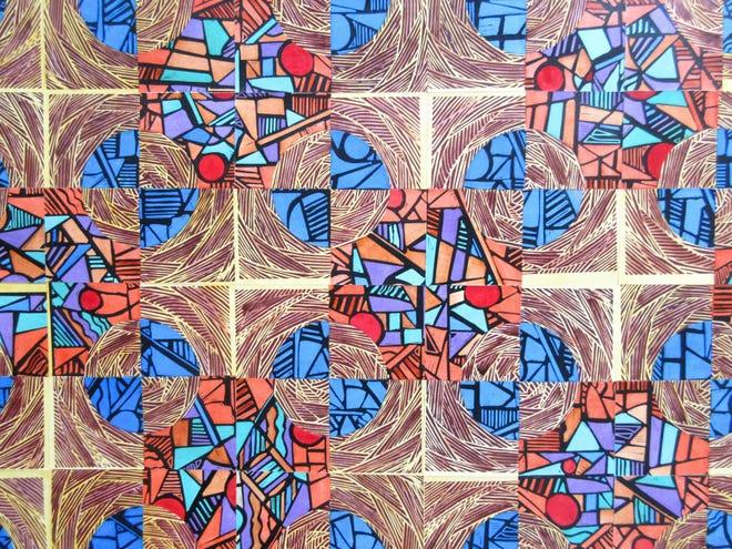 99 by Jim Sherraden, handcolored woodcut