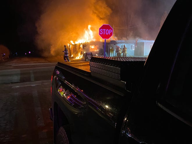Here is what greeted firefighters early Friday morning at the Eastside Grill and Pub on Route 364 in Gorham. The restaurant is a total loss.