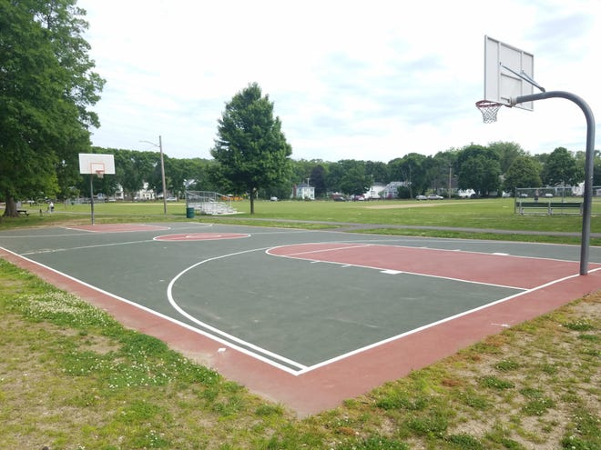 Basketball hoops are being reinstalled at several Framingham parks, including Butterworth Park off Grant Street.