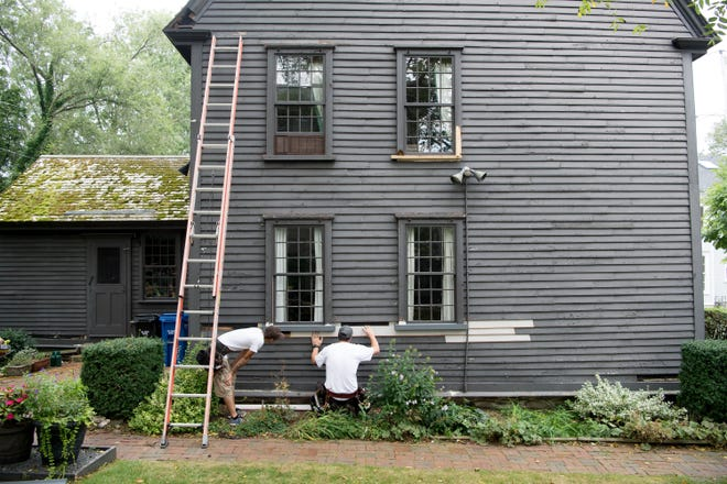 A home in Newport undergoes repairs.
