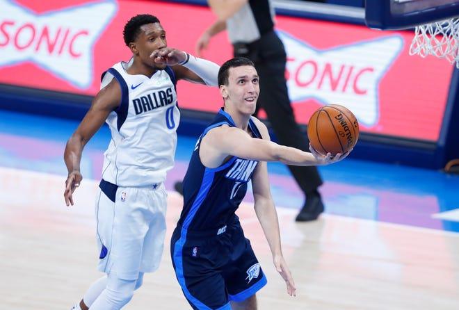 Aleksej Pokusevski had 14 points and eight rebounds in the Thunder's win against the Mavericks on Thursday night.