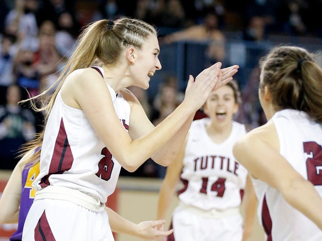 Tuttle's Landry Allen celebrates a basket during a Class 4A semifinal against Anadarko on March 11.