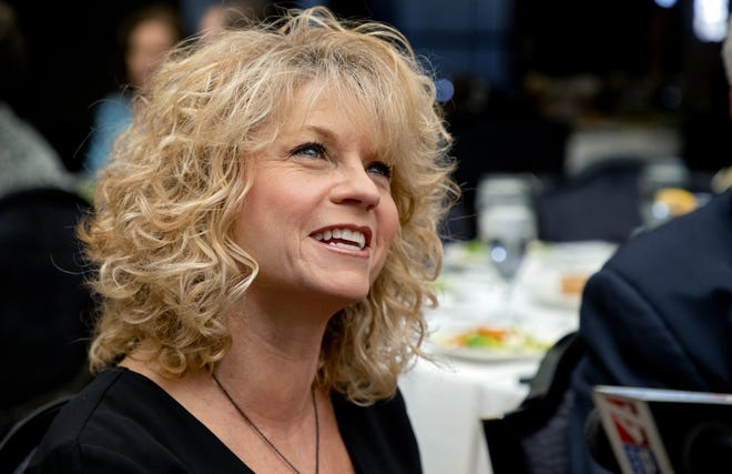 """Inductee Sherri Coale speaks to the media during the Oklahoma Sports Hall of Fames luncheon for the 2020 class of inductees at the Jeaneen and Bob Naifeh Family & Bud Wilkinson Event Center in Oklahoma City, Okla. on Thursday, Feb. 27, 2020. This years inductees included, Tommy Chesbro: Wrestling, Oklahoma State University, Sherri Coale: Coaching (Women's Basketball), University of Oklahoma,Eddie Griffin: Wrestling, Oklahoma State University,Stacey King: Basketball, University of Oklahoma,Hubert F. """"Hub"""" Reed: Basketball, Oklahoma City University, James David """"Buddy"""" Ryan*: Coaching (NFL), Oklahoma State University and Lee Allan Smith: Contributor, University of Oklahoma Alumnus [Chris Landsberger/The Oklahoman]"""