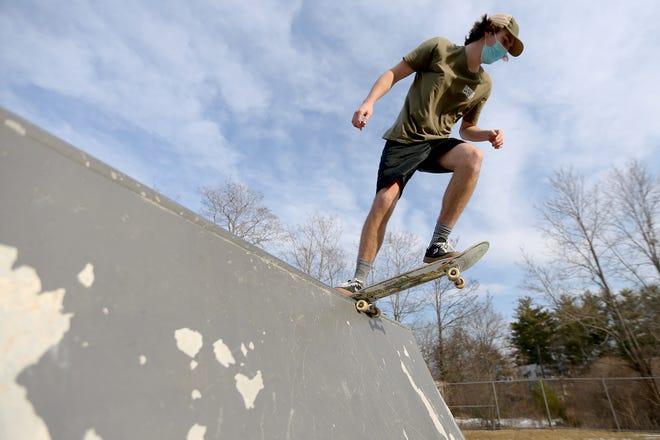 Oliver Sieve, 18, skates down a ramp at the Greenleaf Recreation Center Skate Park in Portsmouth.
