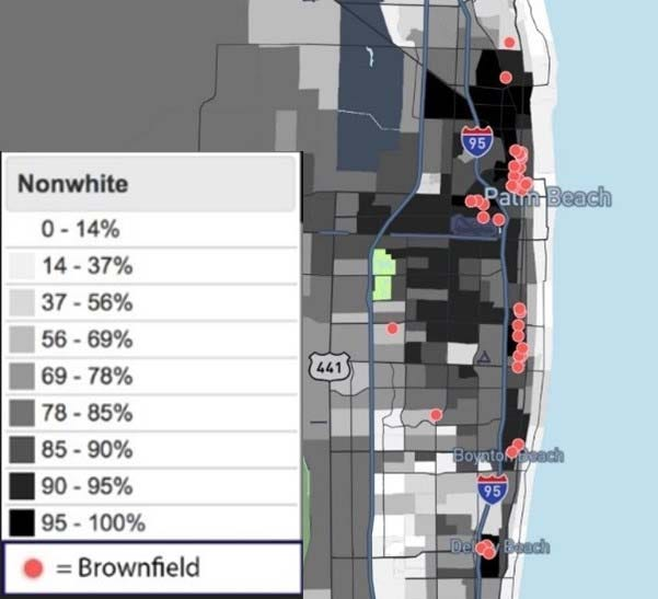 Brownfields in Palm Beach County. The darker the area, the higher is the concentration of non-white people. The dots show the location of brownfields. (Sources: U.S. Environmental Protection Agency, U.S. Census)