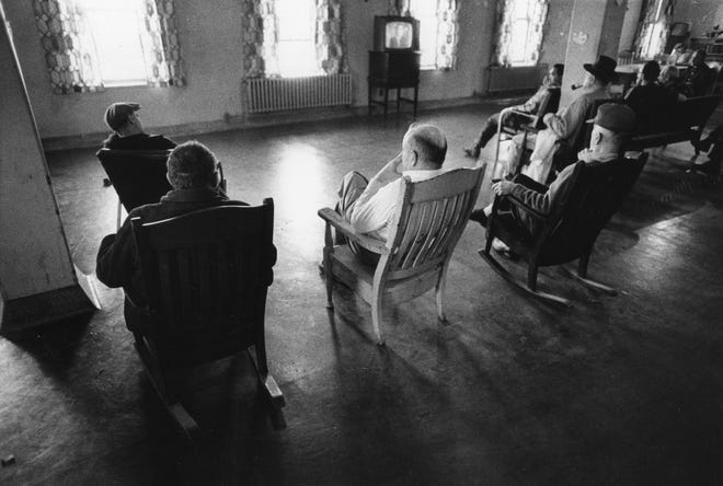 Patients at the Institute of Mental Health, Rhode Island's public psychiatric hospital, shown in 1970, before it was shut down. Scandals there, and at similar institutions across the nation, gave rise to the non-hospital mental health system.
