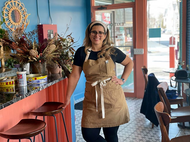 Milena Pagán in her new all-day cafe and bakery Little Sister on Hope Street in Providence. She and her husband co-own Little Sister, along with Rebelle Artisan Bagels.