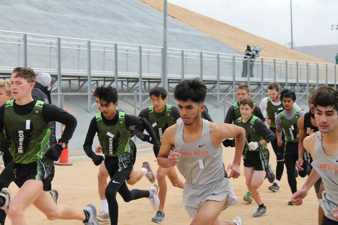 The Burroughs and Apple Valley High School cross country teams race against each other during Wednesday afternoon's dual meet.