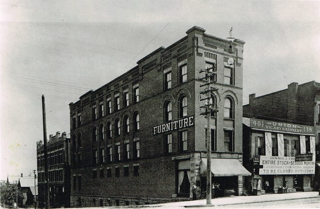 This image shows the Canton Home Furnishings structure at 236 and 238 Market Avenue N, which was owned by Hugh D. McCrea and John L. Arnold, according to Canton City Directory of 1901. Located at the southeast corner of present day Market Avenue N and Third Street NE, the building was the original site of the business that grew to be Arnold's Funeral Home.