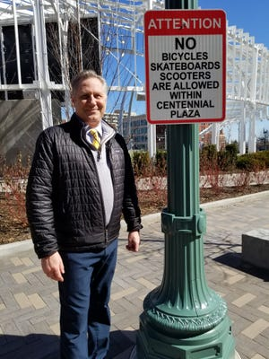 Donn Angus, city planner and project manager for Centennial Plaza, has installed signs such as these to keep further damage from being done.  Lori Steineck / The Canton Repository