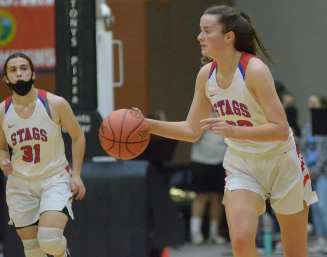 Bishop Miege's Payton Verhulst (22) bring the ball up the court as teammate Catherine Boling (31) follows during the second half of the 4A state semifinal game at the Tony's Pizza Events Center on Friday.