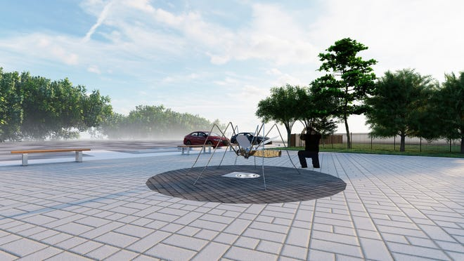 A conceptual image shows a mosquito statue that's in the plans for the Anastasia Mosquito Control District's education center and science museum.
