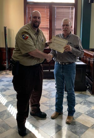 The Erath County Commissioners Court recently recognized several Sheriff's Office employees for their service to the county. Corrections Officer Joshua Harris received his 10 year recognition.