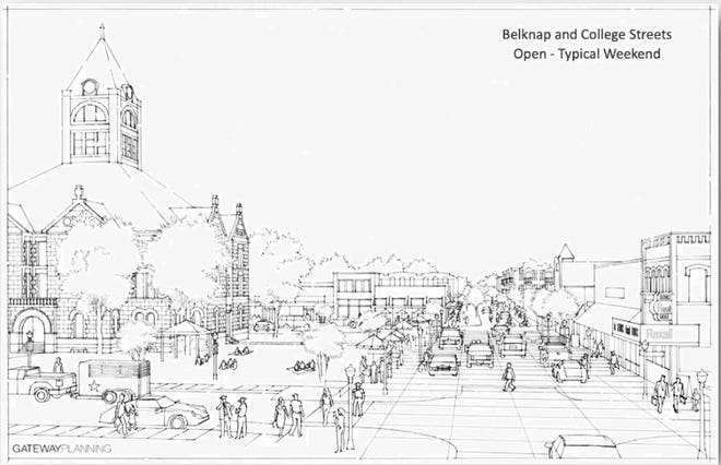 This rendering provided by Gateway Planning shows what the downtown square could potentially look like after the removal of medians and expansion of green areas around the courthouse.