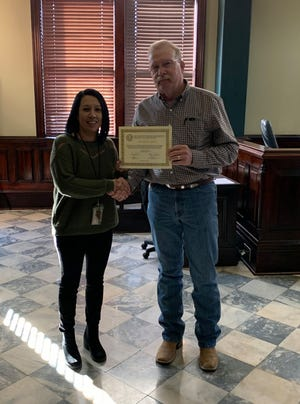 The Erath County Commissioners Court recently recognized several Sheriff's Office employees for their service to the county. Evidence technician Melinda Garcia received her 5 year recognition.