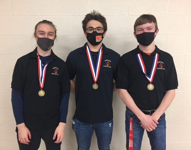 KHS Scholastic Bowl Members Jace Clayes, Connor Bryan (captain) and Gabe Johnson were recently recognized as part of the Three Rivers Conference All-Conference Scholastic Bowl Team for their efforts during the abbreviated 2020-21 season. Clayes scored 29 tossups, Bryan, 39, and Johnson, 16. The KHS Scholastic Bowl Teams are coached by Marie and Kirk Watson.