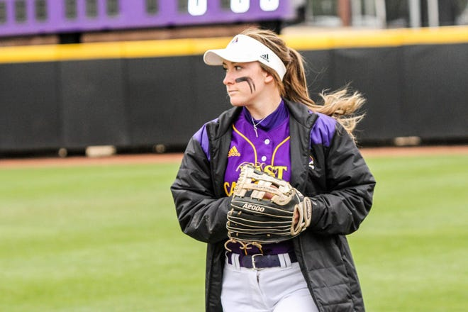 ECU outfielder Courtney Layton celebrates two years seizure free on Sunday. (Photo courtesy of ECU athletics)