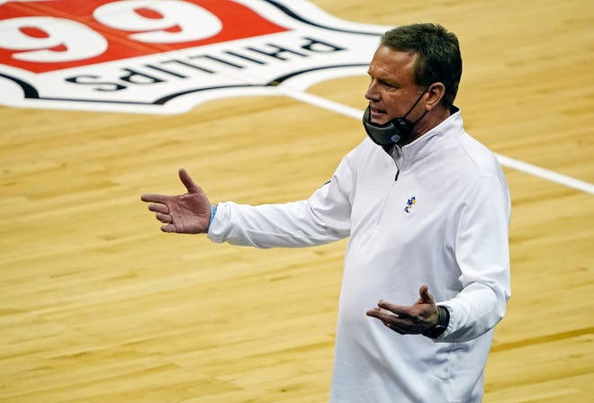 Kansas basketball coach Bill Self reacts after a play during the Jayhawks' game against Oklahoma on Thursday at the Big 12 Tournament in Kansas City, Mo. A COVID-19 positive on Friday knocked KU out of the remainder of the event.