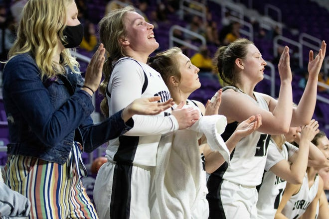 Sterling junior Makenna Linden is jubilant on the bench as they win the Class 2A State semifinal game. Sterling won 69-52 over Garden Plain at Bramlage Coliseum Friday, March 12, 2021.