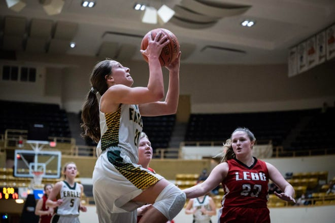 Olpe's Marley Heins goes up for a basket earlier this season against Lebo. Heins and Olpe kept their run for an undefeated season going with a 38-21 win over Hodgeman County in Thursday's Class 1A Division I state semifinals in Dodge City. Heins scored 17.