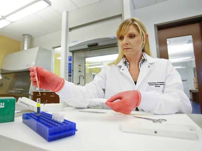 In 2017, Jena Sparling, a forensic scientist for the Kansas Bureau of Investigation, demonstrates use of a sexual assault test.