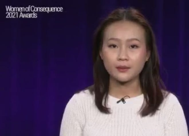 Nhi Huynh, a North High School student, is shown in this screen shot from the virtual event as she accepts an award at the Woman of Consequence awards Thursday.