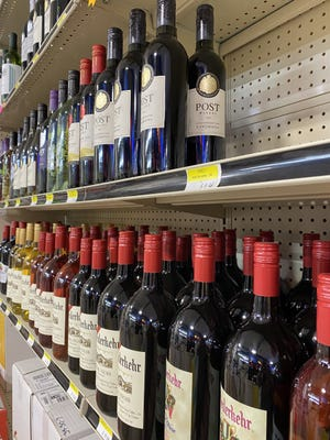 Arkansas wine is sold at Shamrock Liquor Warehouse. Growers in Arkansas are able to grow a variety of grapes for wine.