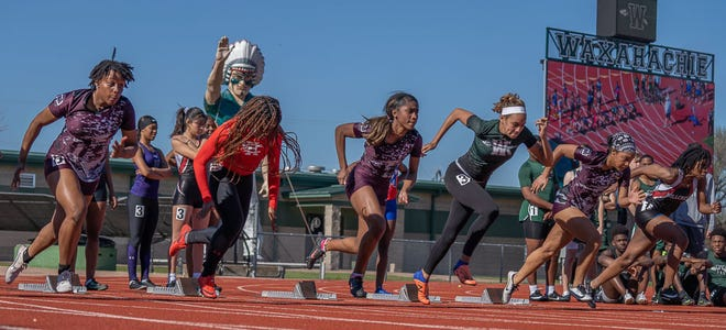 Runners come off their marks during the 2020 Big Green Relays at Lumpkins Stadium in this file photo. The 2021 meet took place on Thursday, with the Lady Indians placing second and the Indians fourth.