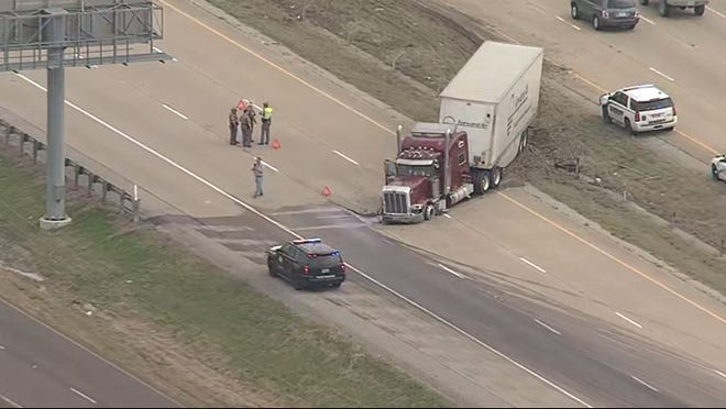 This still from an aerial video shows a tractor-trailer that was involved in a four-vehicle crash on northbound Interstate 45 near the Alma community. The Texas Department of Public Safety said late Thursday that no fatalities resulted.