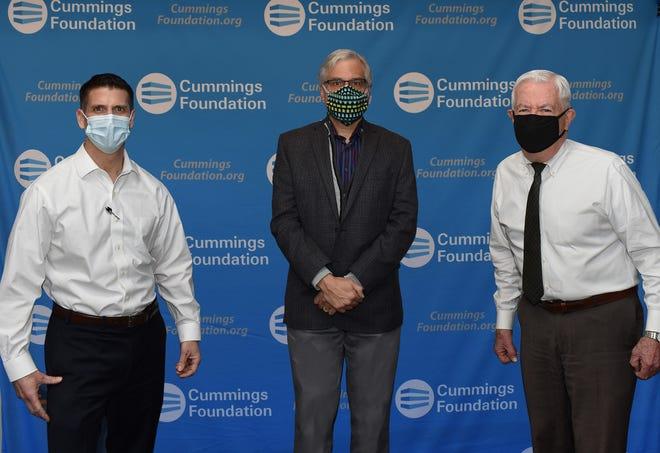Pictured, from left: Cummings Properties President Eric Anderson, Cummings Foundation trustee Thomas Pappas and Cummings Foundation co-founder Bill Cummings.
