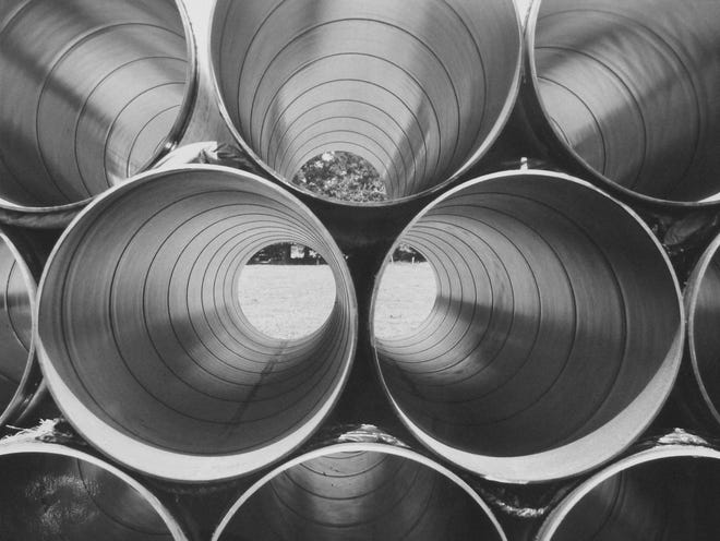 """Steel Pipes,"" by Fritz Gerlinger,  n.d., gelatin silver print."