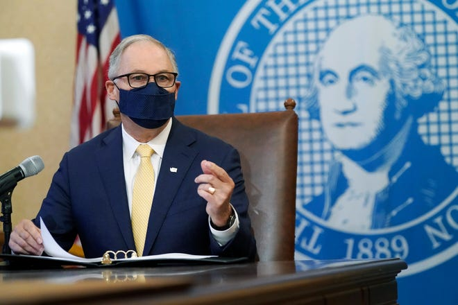 Gov. Jay Inslee speaks during a news conference in this file photo.