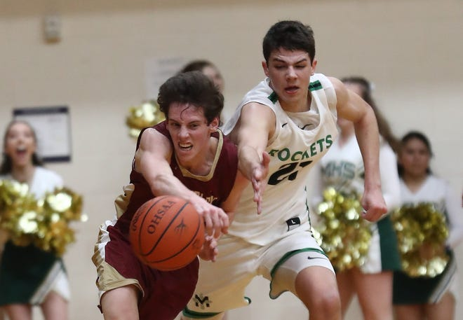Watterson forward Charlie Lewis, left, battles Nick Schulte of Cincinnati McNicholas for a loose ball during Thursday's Division II regional semifinal.