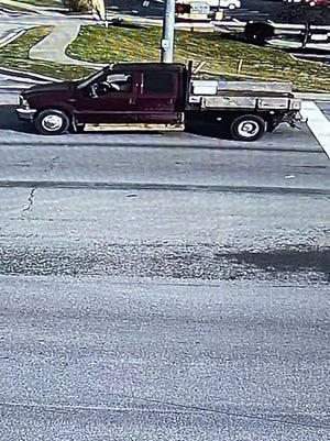 Lawrenceburg, Indiana police are seeking this truck, seen on westbound U.S. 50, in connection with the theft of a beehive box.