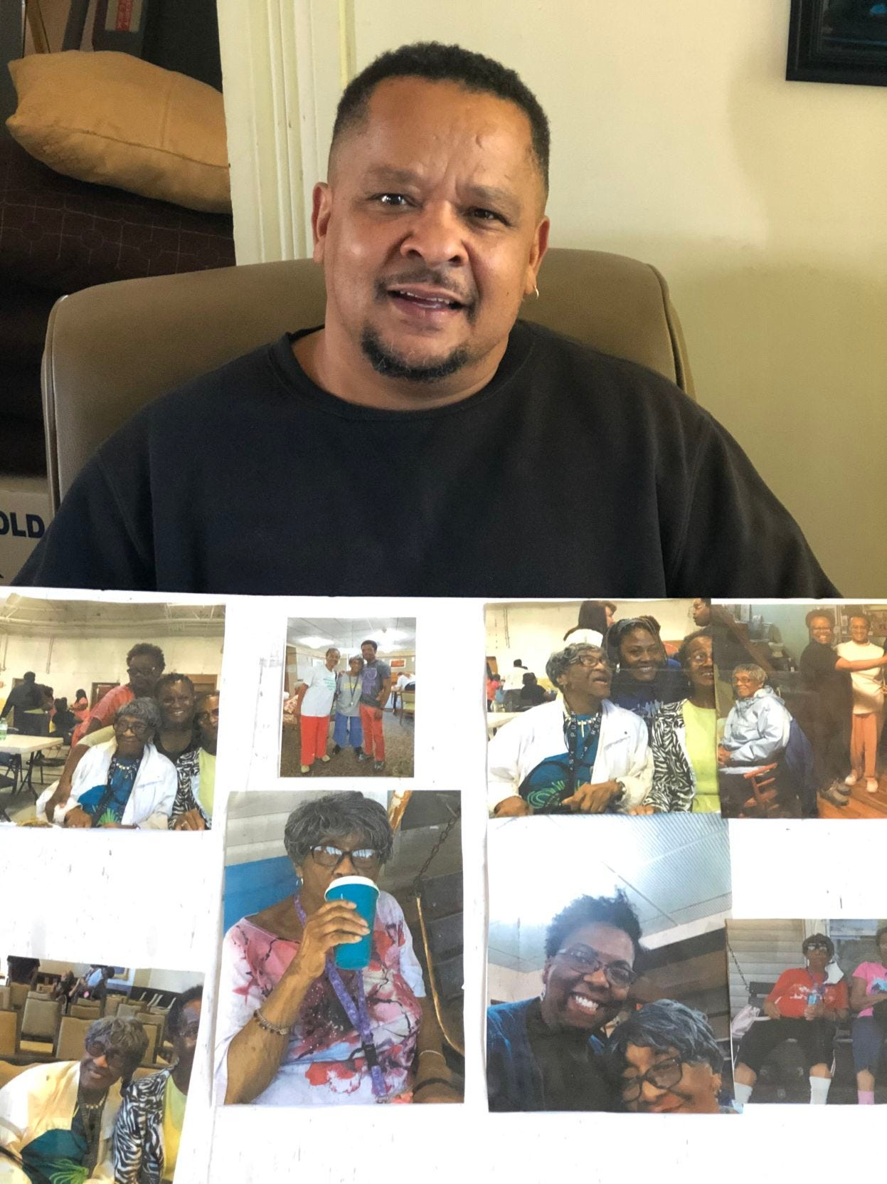 Michael Lowery with pictures of his grandmother, Helen Mae Lowery, who died of COVID-19 in Davenport in October. His grandmother was a good, old soul, he says.