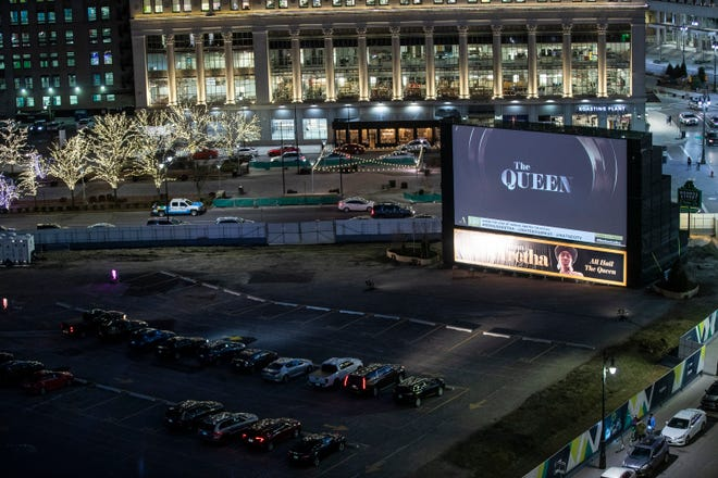 """Private screening of National Geographic's """"Genius: Aretha"""" at the the Monroe Street Drive In in downtown Detroit on Thursday, March 11, 2021."""