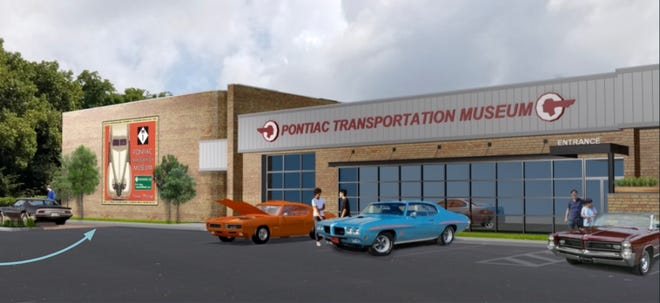 A Phase One rendering of the side of the yet-to-open Pontiac Transportation Museum In Pontiac.